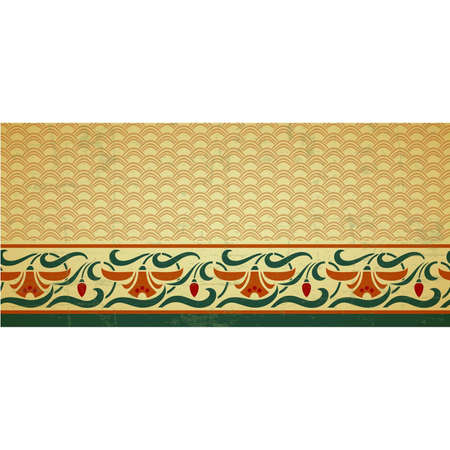 Fresco ornament with geometric pattern part and floral border with daffodils, seamless design, vector illustration, old style design