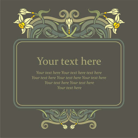 Floral frame with daffodils flowers and bourgeons, Invitation to the wedding or announcements
