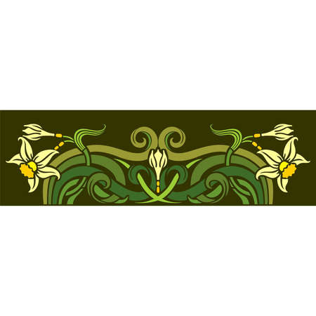 Floral frame with daffodils flowers and bourgeons Vector