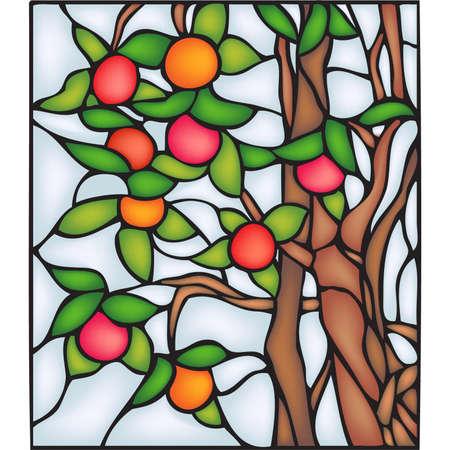 autumn scene: Apple tree, stained glass window