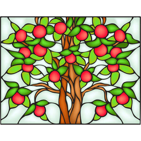 stained glass window: Apple tree, stained glass window