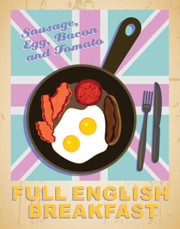 cousin: Full English breakfast - vector illusrtration