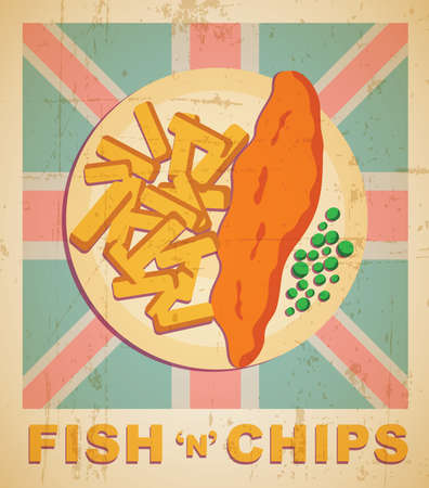 fish and chips: Fish and chips - vector illusrtration