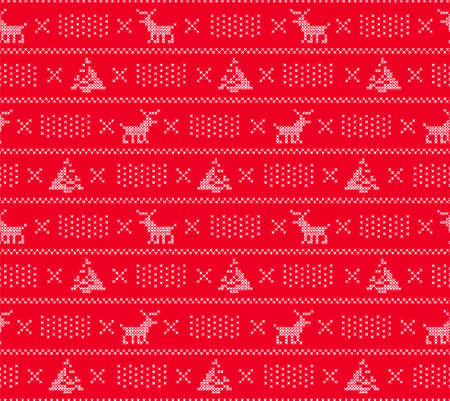 Knit sweater background, Christmas seamless pattern with dears, trees and snow, vector