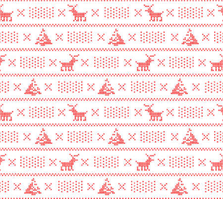 knit: Knit sweater background, Christmas seamless pattern with dears, trees and snow, vector
