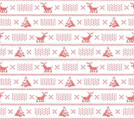 sueter: Tejer fondo suéter, Navidad sin patrón, con queridos, los árboles y la nieve, vector Vectores