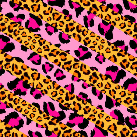 Pink panther and cheetahleopard pattern, animal print, vector