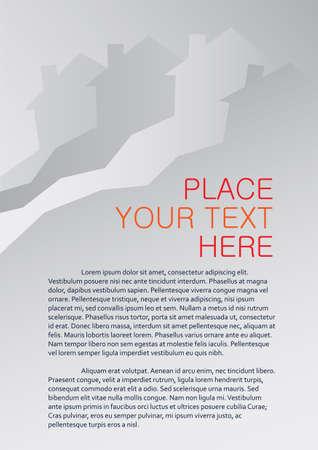 Property market A4 page design, magazine or leaflet template, vector illustration Illustration