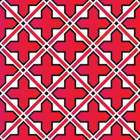 Decorative cross ornament, seamless pattern, vector