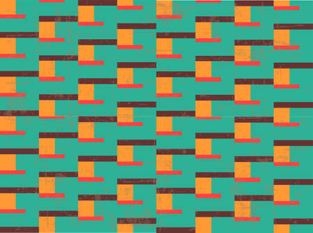 Old style geometrical seamless pattern, 70s background, vector