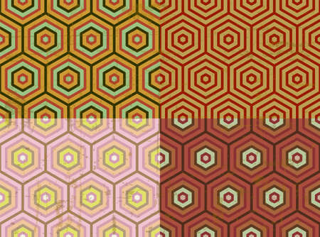 Old style octagon seamless pattern, 70s background, vector