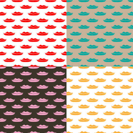 Lips seamless background set, vector