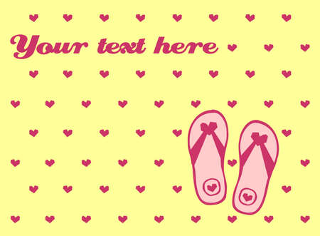 Holiday greeting card with flip flops and hearts