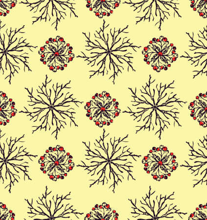 Hand drawn berries and branches seamless pattern