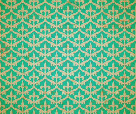 Old style abstract floral wallpaper, seamless pattern, vector