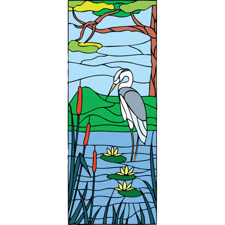 water stained: Heron in the river, stained glass window