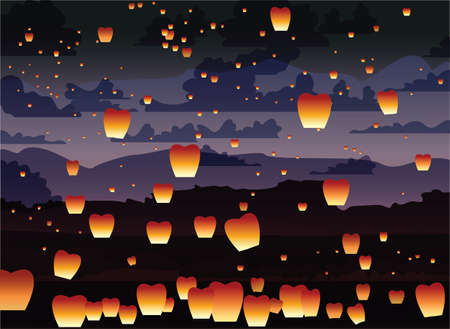 chiangmai: Floating asian lanterns