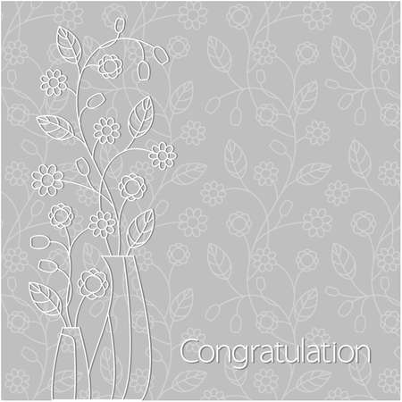 Congratulation card with flowers, vector Illustration