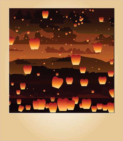 fireworks 'hope fireworks: Floating asian lanterns on photo, vector Illustration