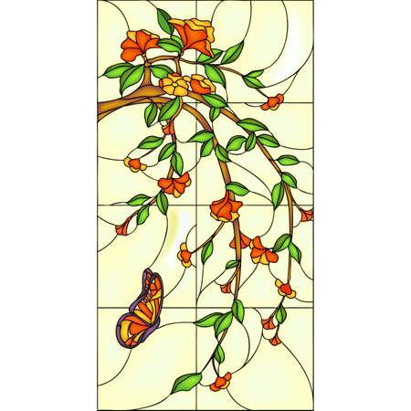 vidro: Janela de vidro da borboleta e um ramo com flores, manchado