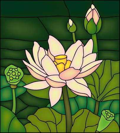 vetrate artistiche: Lily nello stagno, finestra potete vetrate