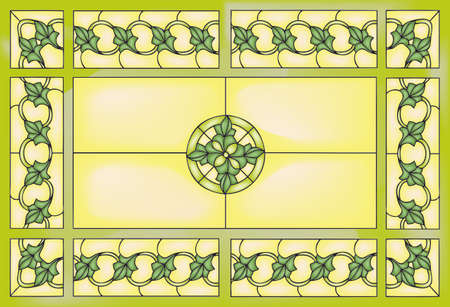glass windows: Chain with leaves, stained glass window style, vector