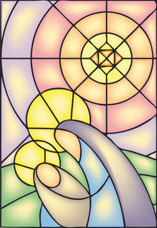 church interior: Christmas, stained glass window, stock illustration