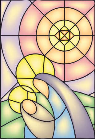 vidro: Natal, janela de vitral, estoque de ilustração Ilustração