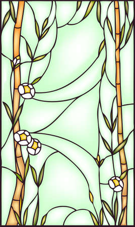 glass windows: Bamboo, stained glass window, vector illustration