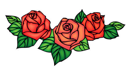 Roses, composition in stained glass window style, vector design