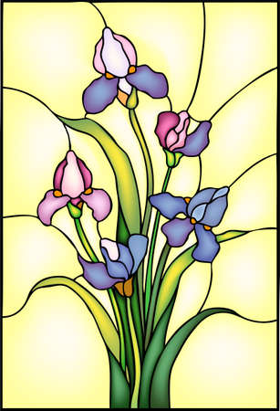 Iris, garden flowers, composition in stained glass, vector