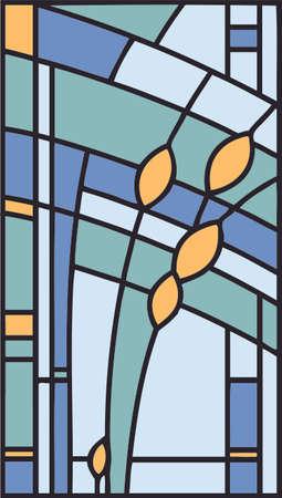 ステンド グラス、抽象的な幾何学的構成をベクトルします。  イラスト・ベクター素材
