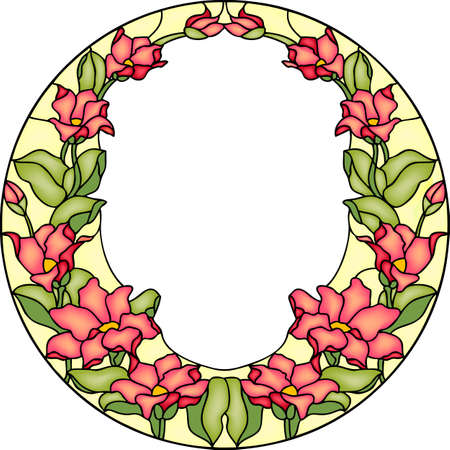 round window: Red garden flowers, composition in stained glass, vector