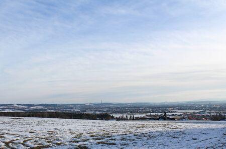 city view: Winter landscape city view on Ceske Budejovice Stock Photo