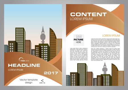 throwaway: Vector flyer, corporate business, annual report, brochure design and cover presentation with brown wave.