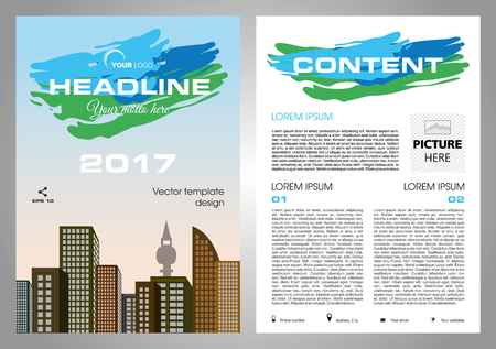 throwaway: Vector flyer, corporate business, annual report, brochure design and cover presentation with blue and green stroke.