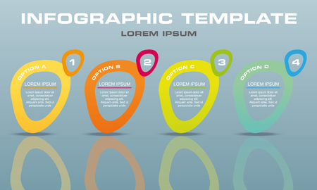 Modern infographics options template vector with colorful elipse on grey background. Can be used for web design, brochure, presentations and workflow layout.