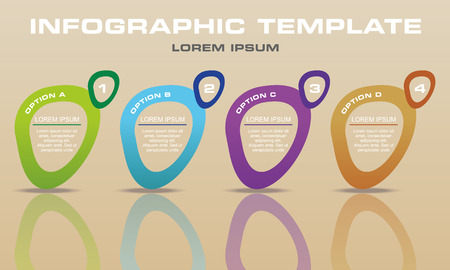 Modern infographics options template vector with colorful elipse on light brown background. Can be used for web design, brochure, presentations and workflow layout. Ilustração