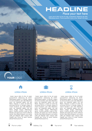 Vector flyer, corporate business, annual report, brochure design and cover presentation with blue lines with photo.