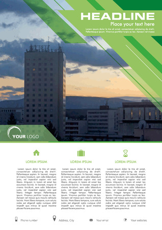 broadside: Vector flyer, corporate business, annual report, brochure design and cover presentation with green lines with photo. Illustration