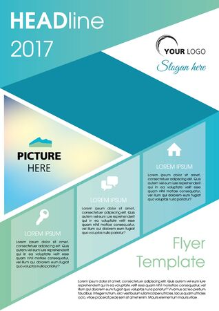 Vector flyer, corporate business, annual report, brochure design and cover presentation with dark blue line. Illustration