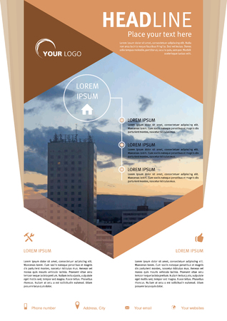 broadside: Vector flyer, corporate business, annual report, brochure design and cover presentation in brown colors with photo in hexagon. Illustration