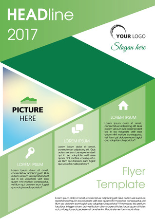 Vector flyer, corporate business, annual report, brochure design and cover presentation with green line.