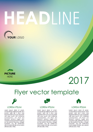 Vector flyer, corporate business, annual report, brochure design and cover presentation with green curve Illustration