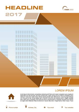 broadsheet: Vector flyer, corporate business, annual report, brochure design and cover presentation with brown rectangle and vector buildings