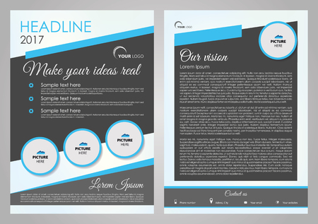 broadside: Vector flyer, corporate business, annual report, brochure design and cover presentation with blue circle. Front page and back page.