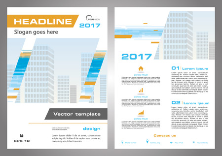 throwaway: Vector flyer, corporate business, annual report, brochure design and cover presentation in orange and blue color. Front page and back page.