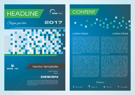 Vector flyer, corporate business, annual report, brochure design and cover presentation with buildings in square in blue color.
