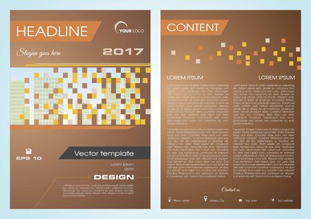 broadside: Vector flyer, corporate business, annual report, brochure design and cover presentation with buildings in square in brown color.