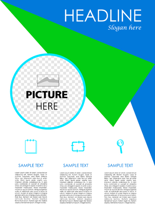 broadside: Vector flyer, corporate business, annual report, brochure design and cover presentation with blue and green triangle.